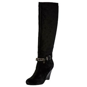 BCBGeneration Wedge Knee High Suede Black Boots